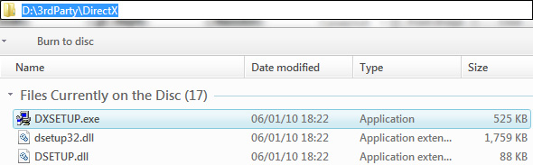 DirectX Installation location